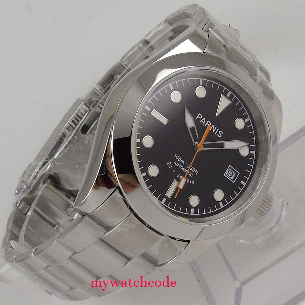 40mm parnis black dial sapphire glass 21 jewels miyota automatic mens watch цена и фото