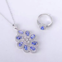 Natural blue tanzanite gem jewelry sets natural gemstone Pendant ring 925 silver luxurious round Flower women party fine jewelry