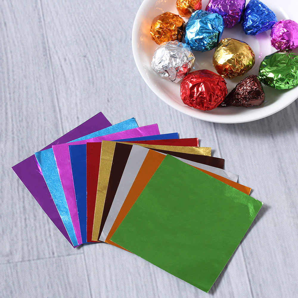 "100Pcs/Set 3.15 ""x 3.15"" 10 Colors Aluminum Foil Chocolate Wrapping Tin Paper,Candy Aluminum Foil Embossing Paper"