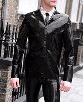 new fashion handsome black latex Men's jacket fetish rubber coat gummi 0.4mm with long sleeves plus size hot sale