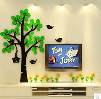Creative 3D Stereo Acrylic Tree Stickers Cartoon Wall Stickers For living room bedroom sofa backdrop decorative painting