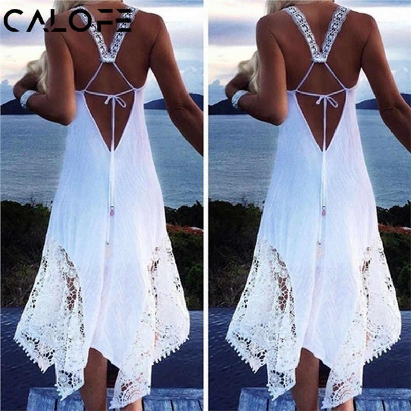 Sexy feminino longo vestido de praia 2020 branco praia túnica maiô biquíni rendas cobrir praia roupa de banho plus size 5xl vestido de natação túnica