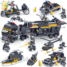 Military Swat Team Police Trucks Cars Helicopter Model Building Blocks Compatible Legoe City Classic Bricks Toys