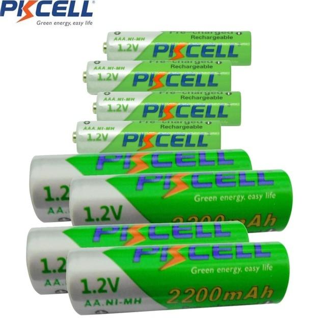PKCELL 4 قطعة NiMH 1.2 فولت 2200 مللي أمبير AA بطارية قابلة للشحن 4 قطعة 850 مللي أمبير AAA بطارية منخفضة التفريغ الذاتي AAA بطاريات قابلة للشحن