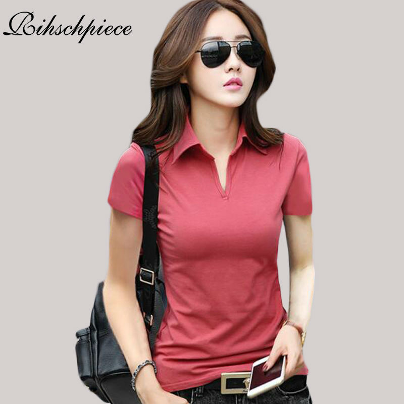 Rihschpiece Summer Polo Shirt Women Short Sleeve Ladies
