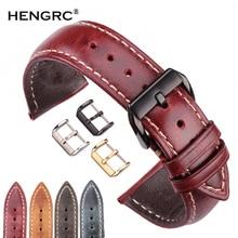 Genuine Leather Watch Strap Women Men Oil Wax Cowhide Watchband 18 20 22 24mm 4 Colors Clock Bracelet For Watches Metal Clasp стоимость