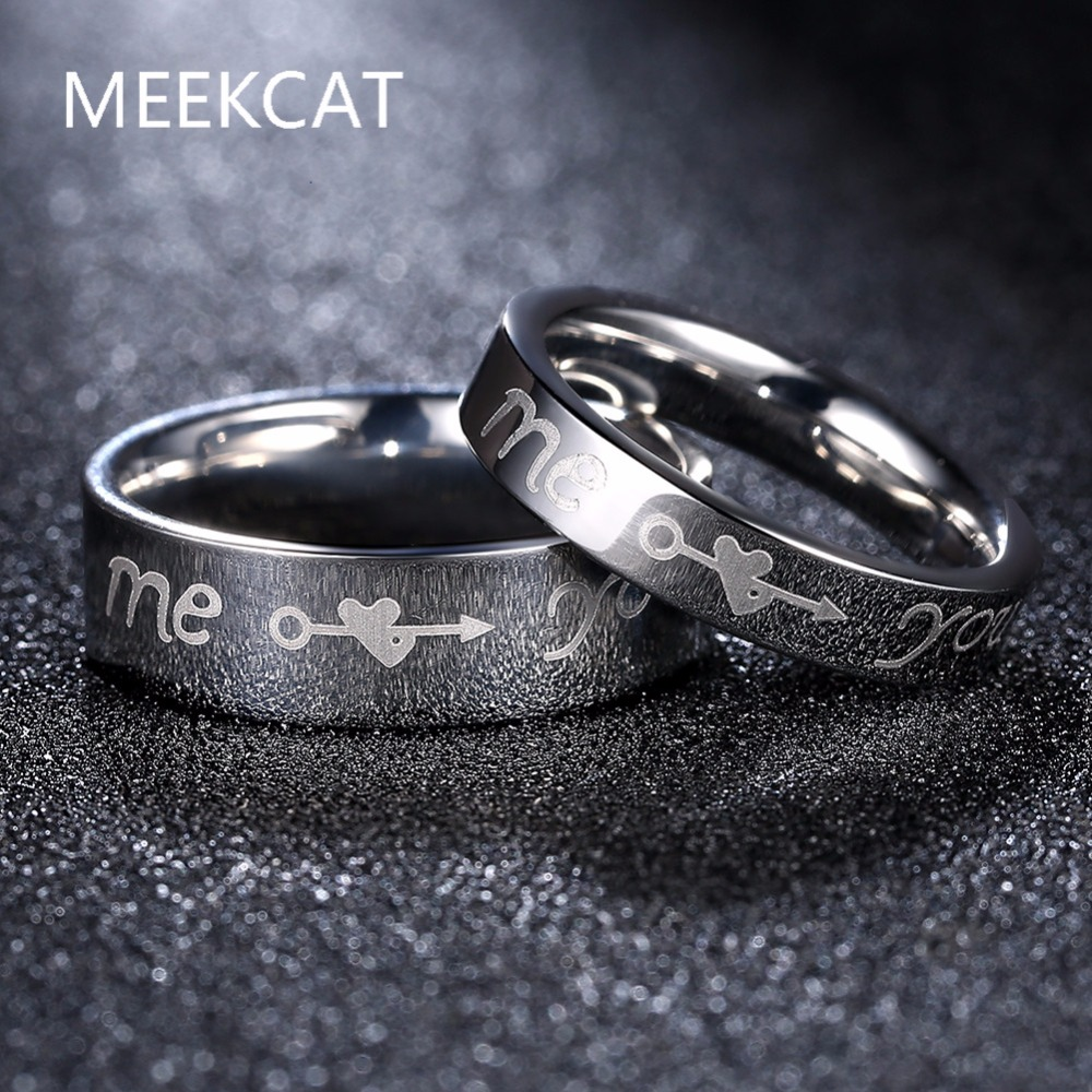 You And Me Promise Ring Sets,fashion ,korean Couple Stainless Steel Engagement  Wedding Rings