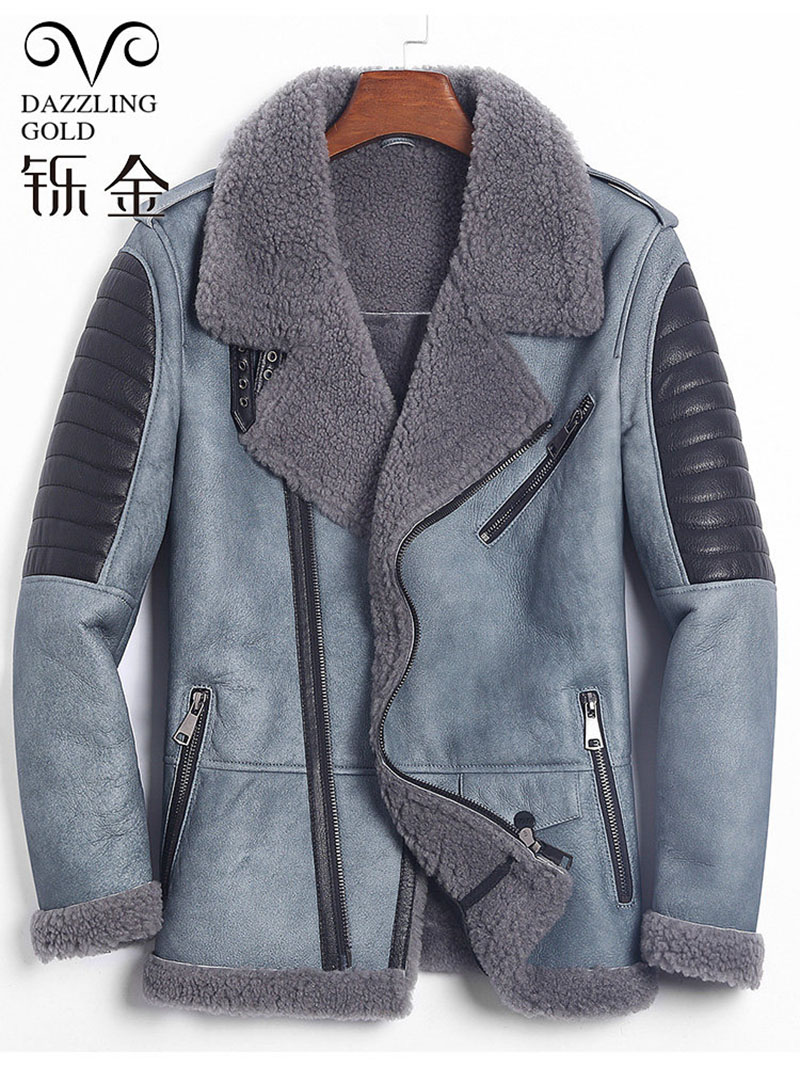Sheepskin Men Genuine-Leather Jacket Coat Shearling Thick Winter Fur for High-Quality