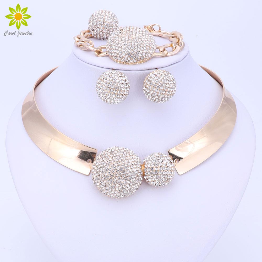 סטים של תכשיטים עבור נשים זהב צבע חתונה צד כלה אביזרים שרשרת עגילים סט אופנה תליון קריסטל תלבושות