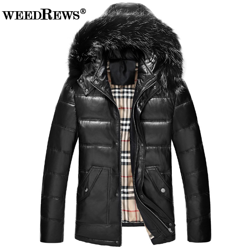WEEDREWS Brand Men's Real Leather Coat With Natural Fox Fur Hood Black Warm Down Filling Real Leather Outerwear For Winter 4XL