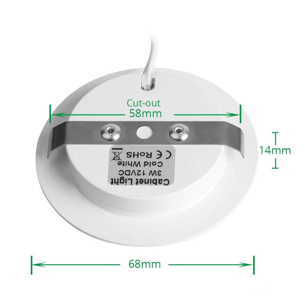 3 W LED sous comptoir lumière ronde forme Puck lampes meubles de cuisine armoire bibliothèque armoire étagère éclairage vitrine lampe - 2