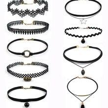 9pcs set Harajuku Simple Velvet Lace Choker Necklace Sets for Women Gothic Chocker Collar Neck Jewelry
