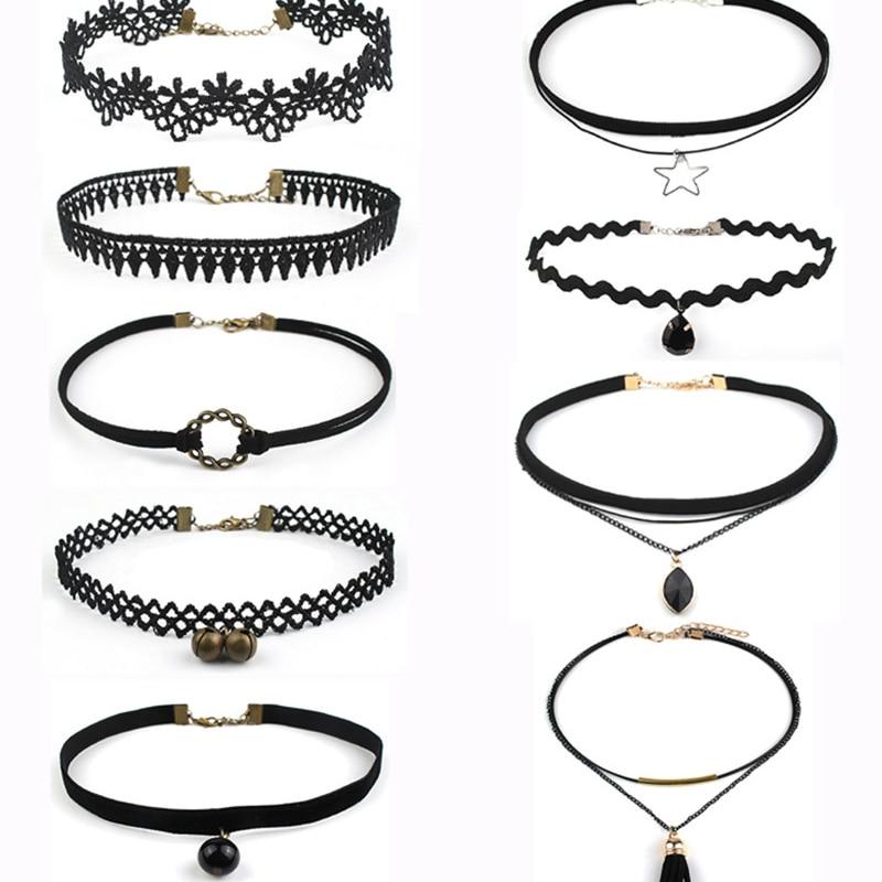 9pcs set Harajuku Simple Velvet Lace Choker Necklace Sets for Women Gothic Chocker Collar Neck font