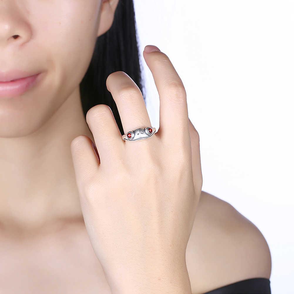 GOMAYA 925 เงินสเตอร์ลิงกบ Retro บุคลิกภาพสร้างสรรค์เครื่องประดับแหวนเงินสเตอร์ลิงเครื่องประดับสัตว์แหวนหญิง
