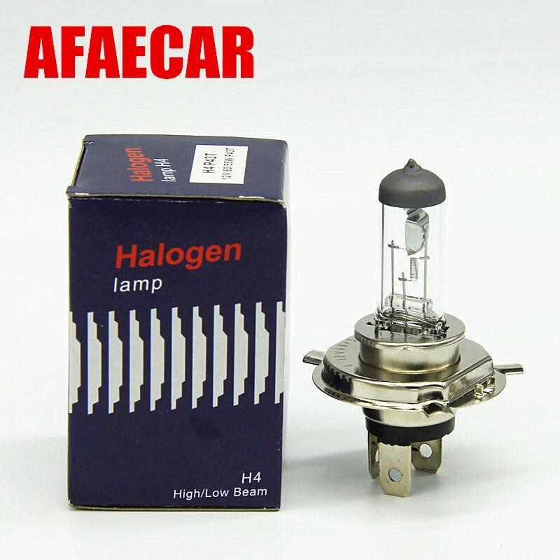 AFAECAR 10pcs H4 Halogen 12V 60 55W 4300K 55w h7 h11 9005 9006 h1 h3 White