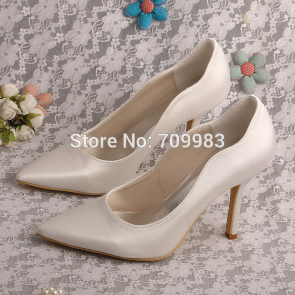985d35a5bd4 Wedopus Plain Pointed Toe High Heels Satin Ivory Women Bridal Shoes Wedding  Pumps