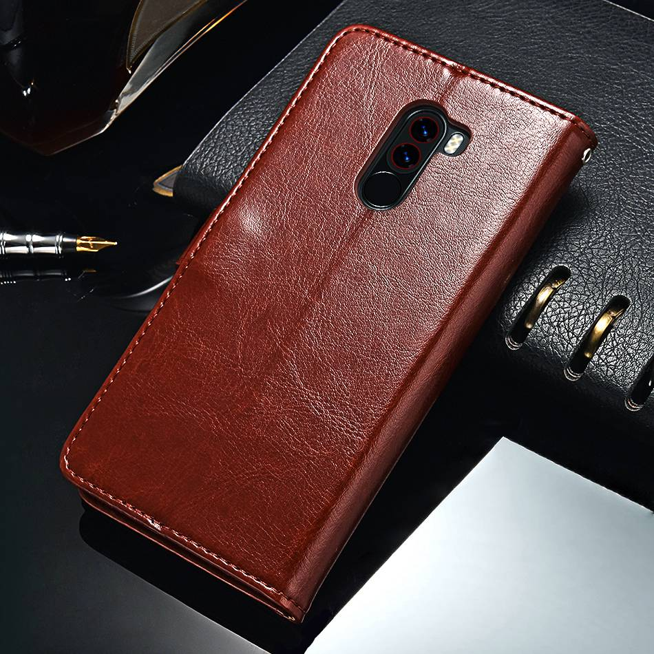 TOMKAS Pocophone F1 Case POCO F1 Global Flip Wallet With Stand Vintage Leather Silicone Back Cover Case For Xiaomi Pocophone F1 (10)
