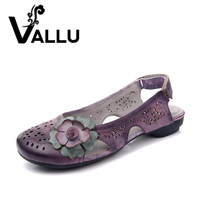 Summer Flat Shoes Woman Genuine Leather 2017 Cut Out Fretwork Round Toes Flower Hook Loop Women