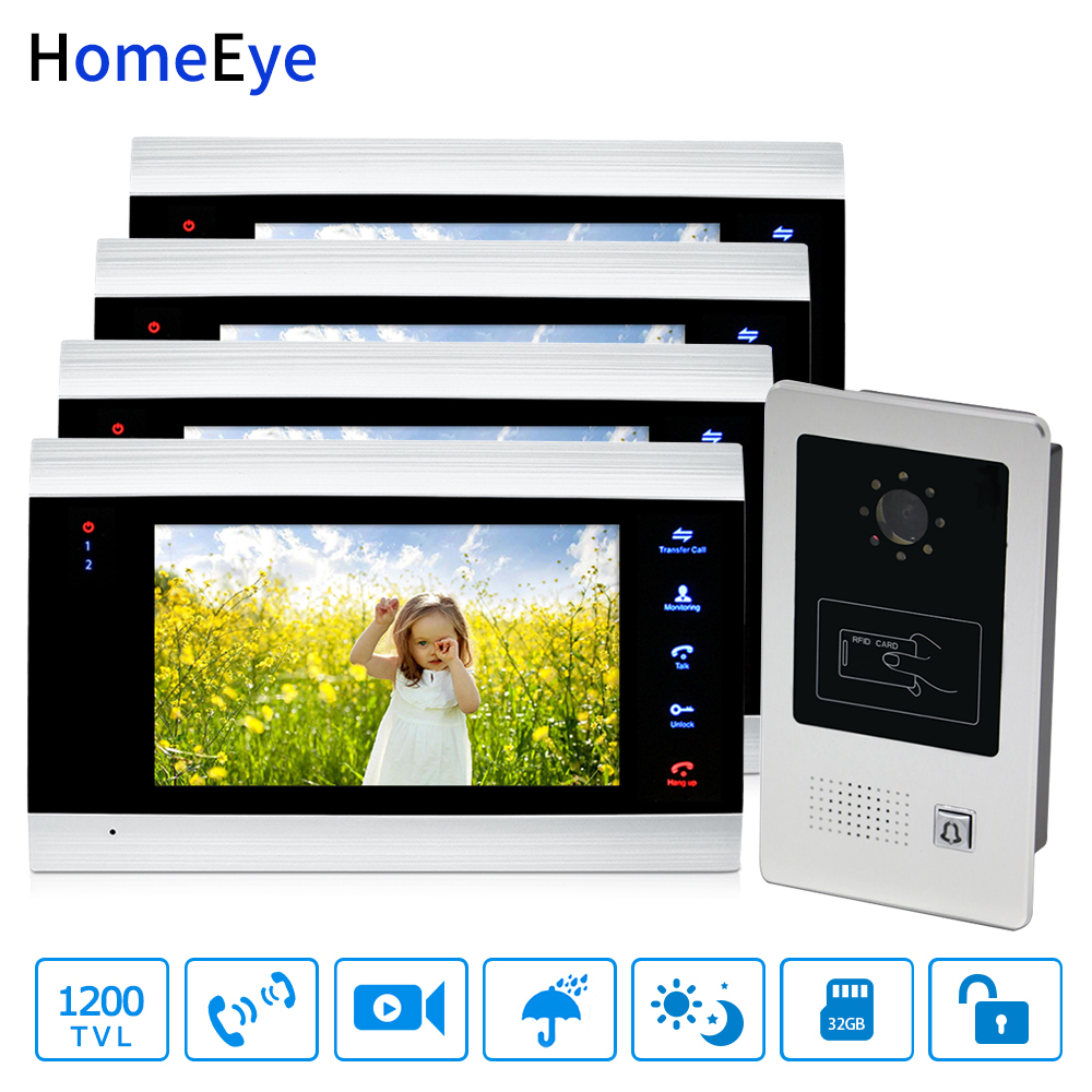 HomeEye 7'' Video Door Phone Video Door Bell Home Access Control System 1-4 1200TVL Rainproof RFID Motion Detection Touch Button