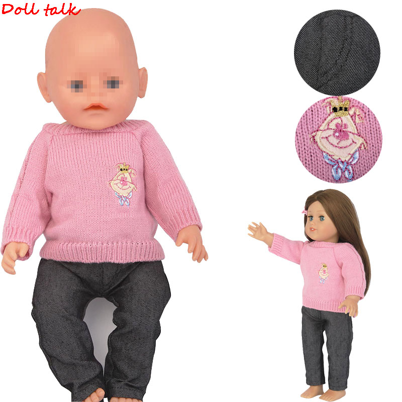New Fashion American Doll Clothes Set Pink Sweater Jeans Clothes Suit Fit For 43cm Dolls And 18-Inch Baby Doll Toy Accessories