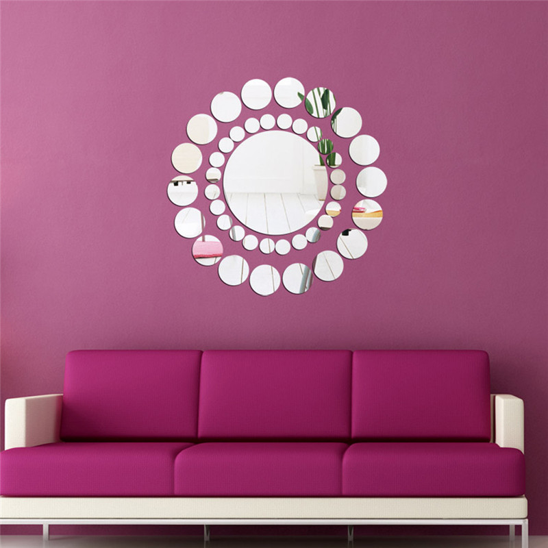 50pcs 5*5CM Round Acrylic Mirror Background Wall Sticker Bedroom ...