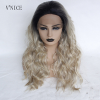 V'NICE Natural Long Water Wavy Dark Root Ombre Honey Blonde Wig Gluelesss Heat Resistant Fiber Synthetic Lace Front Wave Wig