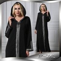 Women Long Hoodies Muslim Dress Middle East UAE Turkey Robe Abaya Dubai Moroccan Kaftan Turkish Islamic Clothing Patchwork 7XL
