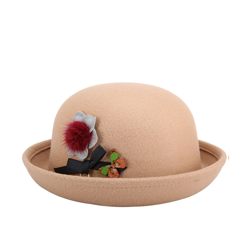 8 Colros Bowl Brim Women Felt Cloche Hat Fedora Autumn Winter Vintage Dome  Fedoras Unisex Bowler Hats Round Caps-in Fedoras from Apparel Accessories  on ... 554032832dcc