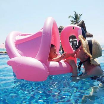 Bezpieczne nadmuchiwane Flamingo dziecko nadmuchiwane koło basen dla dzieci basen dla dzieci niemowląt pływanie pływak regulowany parasolka siedzenia basen zabawki dla dzieci tanie i dobre opinie YHSBUY Baby Swan Ride-on Swimming Ring Inflatable Pool Float For Kid Piscina Giant Inflatable Unicorn Pool Float Tube Raft dropshipping