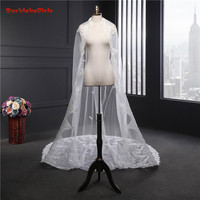 Wedding Accessories 2018 Appliques Tulle Long Cathedral Wedding Veil Lace Edge Bridal Veil with Comb 3.5*1.8