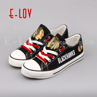 E LOV 2018 New NHL Chicago Blackhawks Shoes Fans Print Leisure Shoes Low Top Lace Canvas