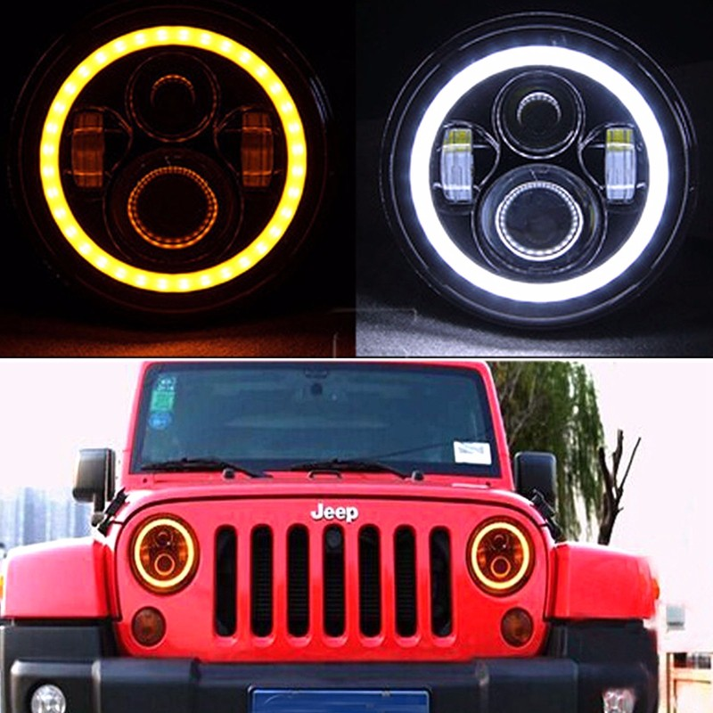 7 inch DRL Angel Eyes 60W LED Headlight+4 inch 30W Halo Fog Light For Jeep Wrangler RED.j4g.j74