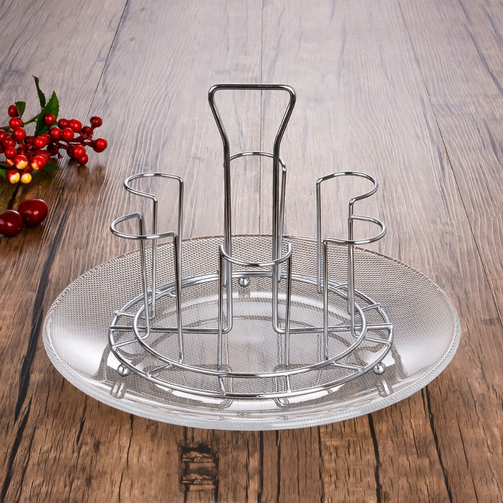Stainless steel square cup holder with tray Bottle Drying Rack Antibiotic Drainer Dryer Shelf water glass mug holder