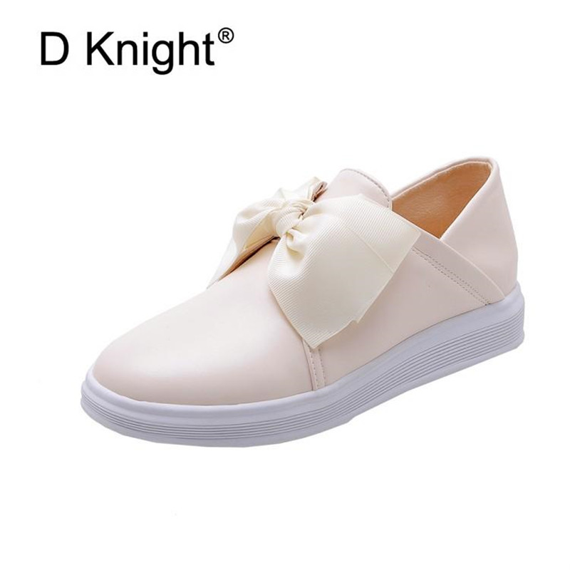 2019 Autumn New Women's Loafers Shoes College British Flat Platform Casual Shoes Sweet Bow Student Lazy Lolita Shoes Big Size 40