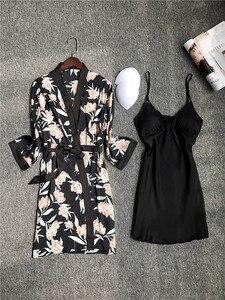 Image 4 - Daeyard piżama zestaw koszula nocna szata zestaw kobiety Nighty jedwabny szlafrok dla pań koszula nocna bielizna nocna Femme seksowna bielizna szlafrok