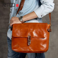 AETOO Retro to do the old leather postman package classic package men's first layer of cowhide shoulder package tannage