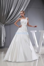 free shipping new arrival 2013 hot custom size/color ball gown one shoulder lace up appliques bridal dress white wedding