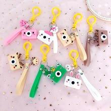 3D Anime Cute Keychain PVC Cartoon Frog Rabbit Piggy Pendant Keyring Child Gift llaveros para mujer 2019
