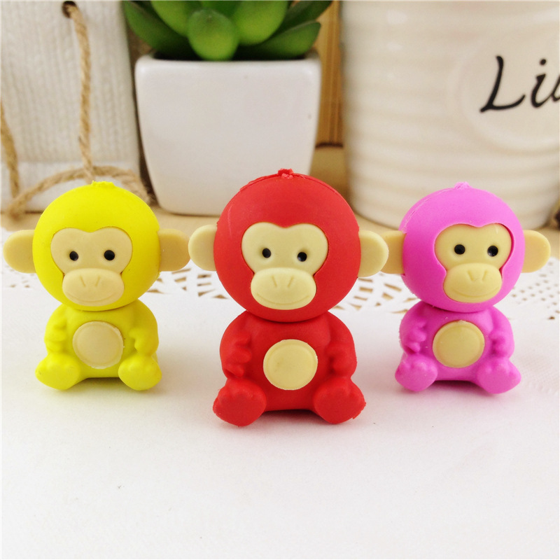 Coloffice 3PSC/Lot New Eraser Cute Monkey Kawaii Creative Pencil Eraser Writing Drawing Rubber Stationery School Office Supply