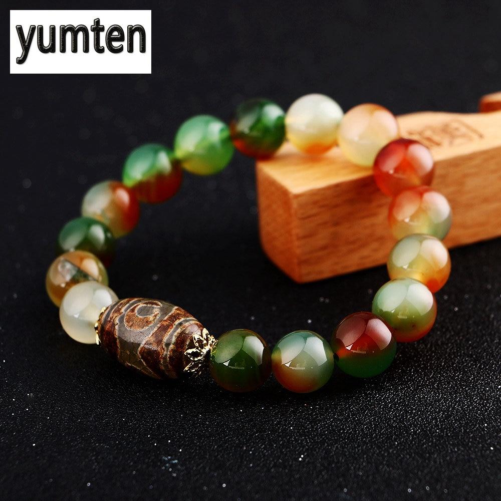 Yumten Agate Bracelet Men Buddha Beads Woen Jewelry Popular Fashion Gift Handmade Luna Pulseira Cozinha Buda Pulseras Mujer Moda