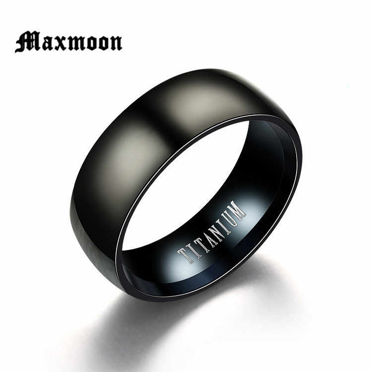 Maxmoon Fashion Black Titanium Ring Men Matte Finished Classic Engagement  Jewelry Rings For Male  Wedding Bands Anillos 2018
