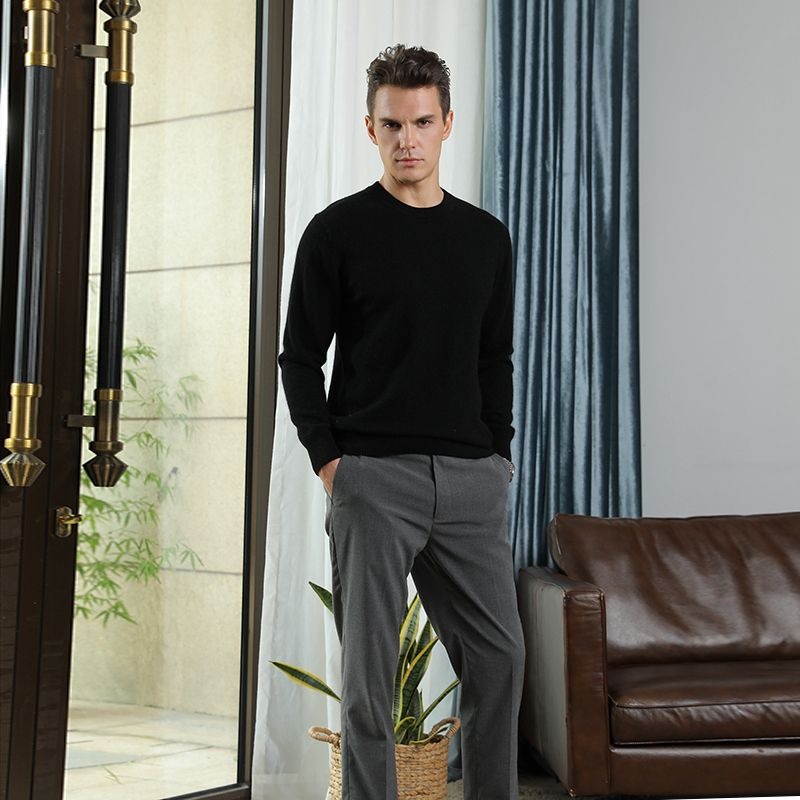 Winter Autumn New Brand Men's O Neck 100% Cashmere Sweater Cashmere Pullover For Man Long Sleeve Christmas Blusas Masculina