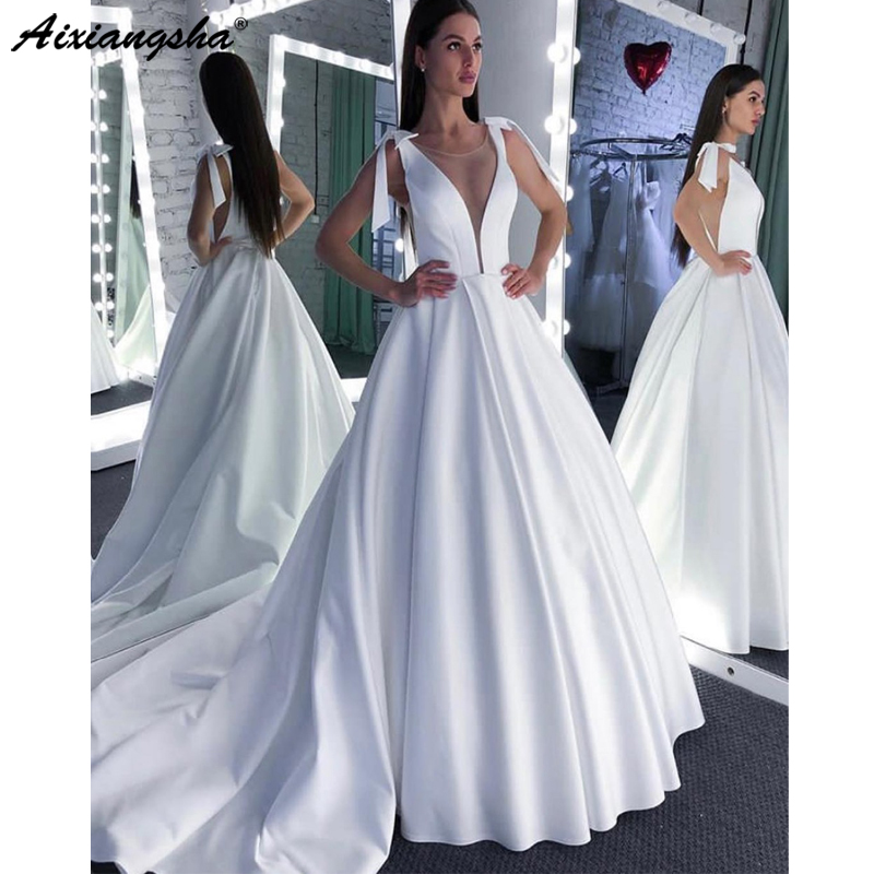 White Wedding Dress 2019 O-neck Sexy Sweep Floor Length Plus Size Court Train Open Back Modest Gowns For Bride Vestido De Noiva
