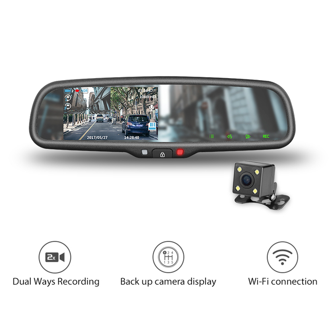 Av5 043la 658 Smart Car Mirror With Dash Cam 1080p Hd Recorder For