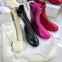 Women Boots Slip on Shoes Ankle Boots White Spring Cowboy Boots for Women Thick Heels Real Leather Zipper Boots Women Shoes