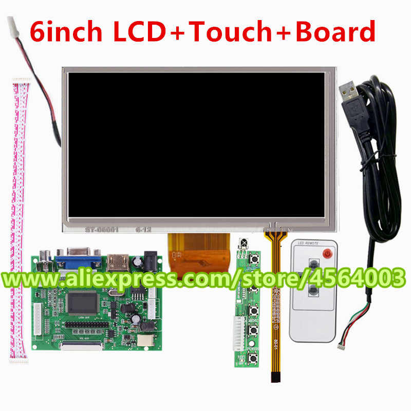 "6 ""zoll display LCD 800*480 TM060RDH01 Controller board treiber HDMI monitor VGA 2AV + touchscreen glas panel für Raspberry pi"