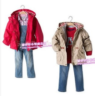 Free Shipping- children/kids/girls spring/autumn jacket, <font><b>2</b></font> pieces in <font><b>1</b></font> jacket, girls trench, classic coat, 92 to <font><b>128</b></font>(MOQ: 1pc) image
