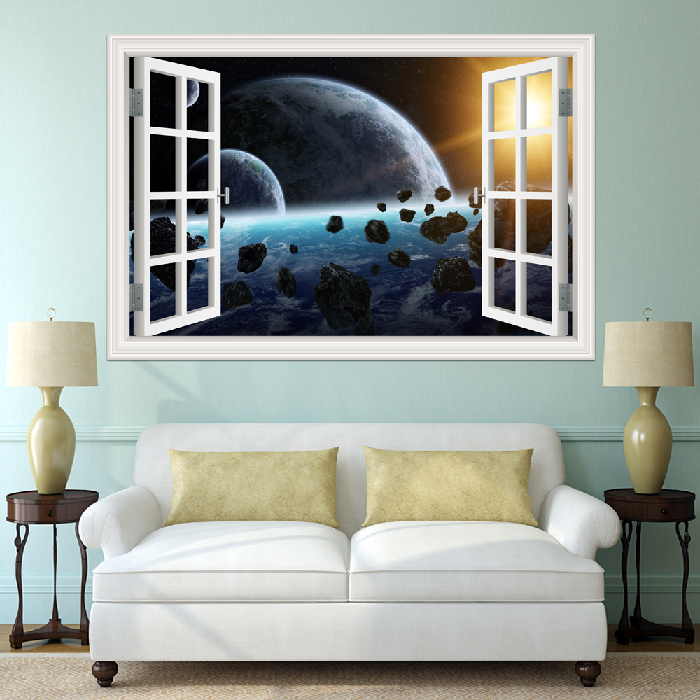 3D Galaxy Wall Sticker Outer Space Planet Stickers Removable Wallpaper 3d Window Scenery Wall ...