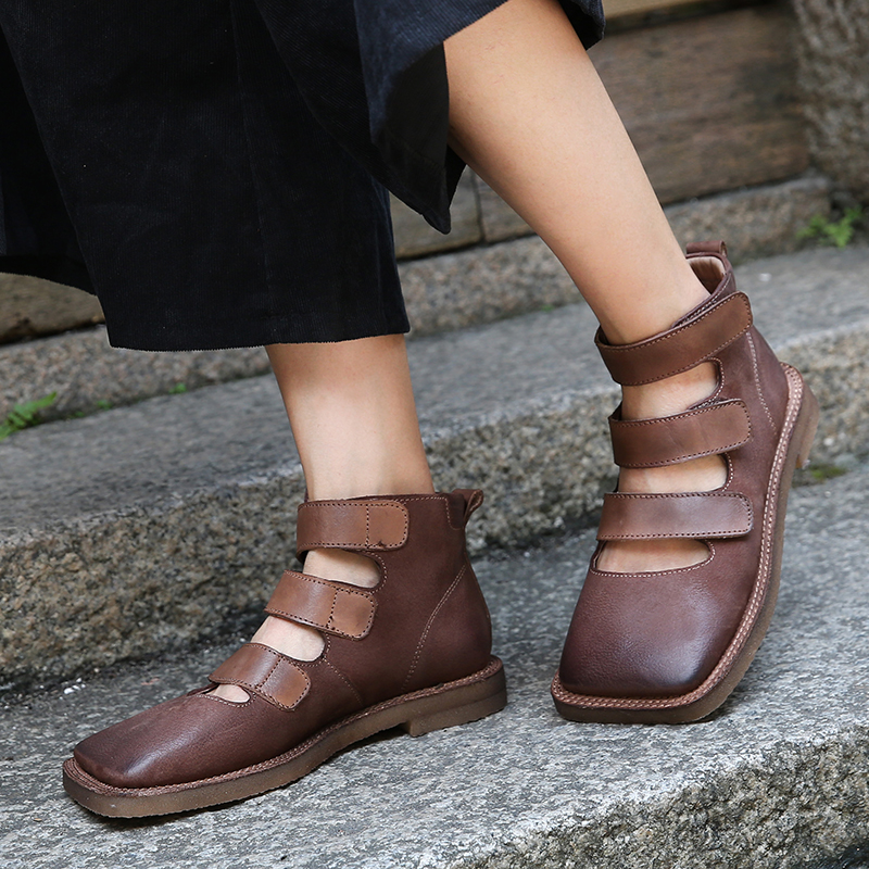 Ankle Flat Shoes Woman 2018 Latest Strap Design Lady Boots Handmade Genuine Leather Hook Loop Square