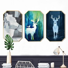 Modern simplicity INS Home decoration painting customize Hotel restaurant mural Creative octagonal living room Elk elf paintings